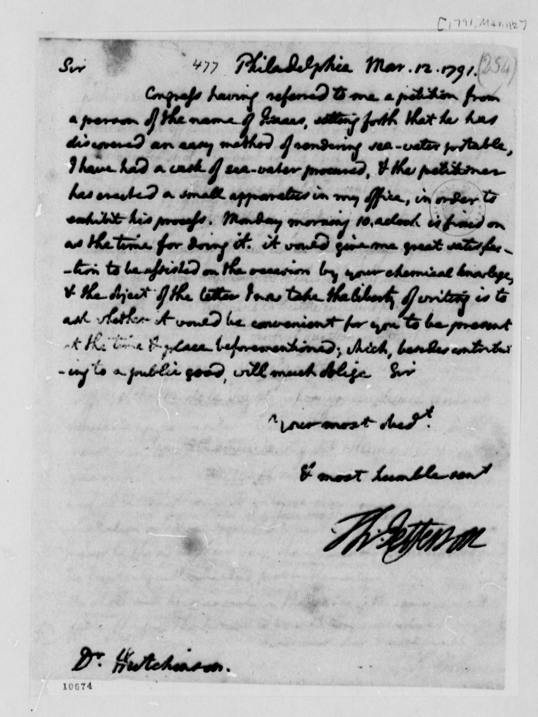 Letter Thomas Jefferson Thomas Jefferson Papers